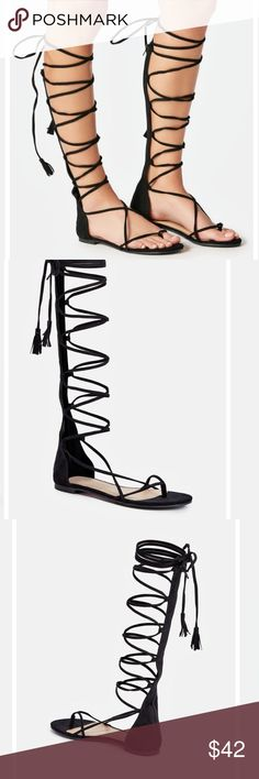 """AMAYA LACEUP BLACK GLADIATOR SANDALS New! Just fab. Show some leg in these strappy knee-high gladiator sandals with a lace up closure.        Approx. Heel Height: 0.25"""" ( not zara) tags/ festival Steve Madden PacSun LAHEARTS forever21 public desire asos express Zara Shoes Sandals"""