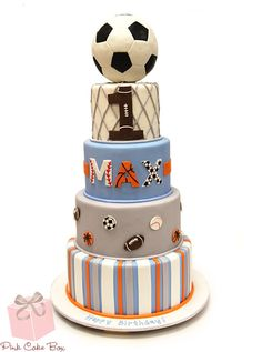 Max's Sports Themed Birthday Cake by Pink Cake Box in Denville, NJ.