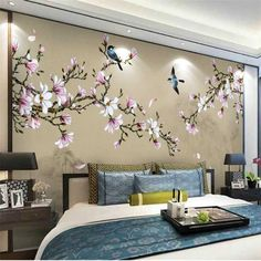 Wall Designs With Wood Modern Wall Decor Ideas Personalizing Home Interiors With Unique Wall Painting Flowers, Tree Wall Painting, Decorative Wall Paintings, Tree Wall Murals, Tree Wall Decor, Bedroom Wall Designs, Bedroom Murals, Bedroom Decor, Modern Wall Decor