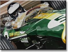 """""""Gentleman Jim"""" 1967 Lotus 49 and Jim Clark (by Colin Carter, limited edition print of 75, Giclée on canvas, size 122cm x 91.5cm)"""