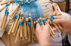 SuperStock - Close up of ladies hands making lace Torremolinos Costa del Sol Malaga Spain