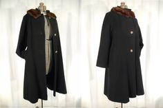 1940s Coat// 40s Coat// Black Coat// Cashmere Coat// Mink Collar Coat// WW2 Era Coat// 40s Coat// Black Wool Dress Coat// Fur Collar Lrg by RockabillyRavenVtg on Etsy