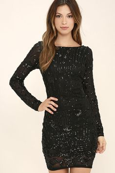It's your time to shine, so slip into Shine of the Season Black Sequin Dress and outshine even the brightest stars in the sky! Black mesh bedecked in shimmering black sequins forms a mix of stripes and swirling floral patterns atop a stretch knit liner. Bateau neckline dips into a sultry scoop back, with sheer long sleeves.