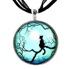 Black Cat Necklace Silhouette Teal Blue Moon Boho Handmade Jewelry Art Pendant by Laura Milnor Iverson -- Awesome products selected by Anna Churchill