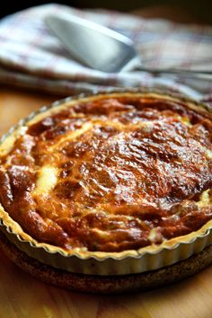 Västerbottensost Pie: Swedish cheese pie - a crumbly, salty, cheddar like cheese.