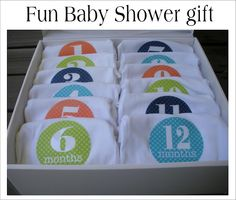 Fun Baby shower gift for mom-to-be. Makes for a great photo of the baby at 6 months, 1 year etc. This website is great for mom's to be, grandma's to be........great ideas for baby showers!