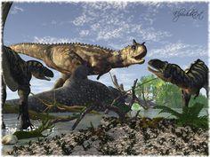 a Carnotaur found a Sauropodcadaver...two Aucasaurus waiting respectfully .