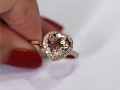 14K Rose Gold 8mm Heart Cut Morganite Ring SI/H by LoveGemArts