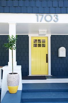Browse beautiful doors and front door paint colors to find the right hue and style for your home. Yellow Front Doors, Front Door Paint Colors, Painted Front Doors, Exterior Paint Colors, Exterior House Colors, Exterior Doors, Blue Doors, Entry Doors, Entrance