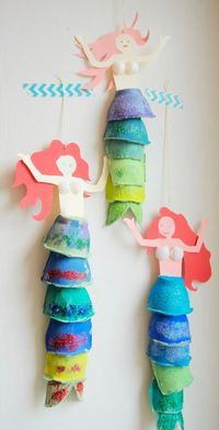 Handicrafts with children Mermaid decoration made of egg carton ›the little messenger - Kinder basteln - Kids Crafts, Summer Crafts, Toddler Crafts, Preschool Crafts, Diy And Crafts, Paper Crafts, Cardboard Crafts Kids, Creative Crafts, Canvas Crafts