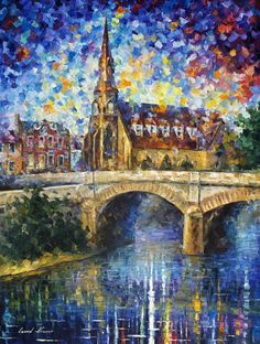 TOWN - PALETTE KNIFE Oil Painting On Canvas By Leonid Afremov http://afremov.com/TOWN-PALETTE-KNIFE-Oil-Painting-On-Canvas-By-Leonid-Afremov-Size-36-x30.html?bid=1&partner=20921&utm_medium=/vpin&utm_campaign=v-ADD-YOUR&utm_source=s-vpin
