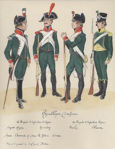Adjudant major e granatiere della fanteria di linea, fuciliere e cacciatore della fanteria leggera della repubblica cisalpina