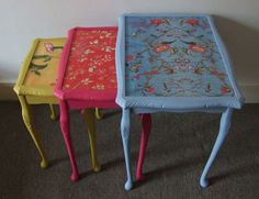 Gorgeous Up-cycled Coloured Wood Painted Nest Of Tables Side Table Coffee Table
