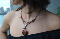 Murano Heart Necklace Red Murano Glass Heart Genuine by LKArtChic