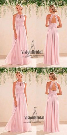 Pink Halter Lace Top Open Back A-Line Long Chiffon Bridesmaid Dress, Beautiful Bridesmaid Dress, VB0501 #bridesmaids #bridesmaiddress #bridesmaidsdresses