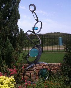 'Spindrift' - reclaimed steel and glass garden sculpture by Eddie Phillips of Forgotten Works Garden Gallery