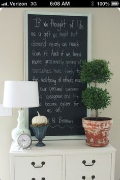 Chalk board using a long mirror.