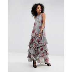 Religion Maxi Dress In Floral (£115) ❤ liked on Polyvore featuring dresses, grey, floral maxi dress, grey maxi dress, grey dresses, tall maxi dresses and grey floral dress