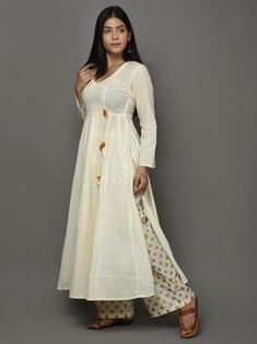 Off White Golden Angrakha Cotton Anarkali Suit - Set of 3