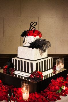 Dramatic white, red and black wedding cake for 1920s inspired wedding, photos by Callaway Gable | via junebugweddings.com