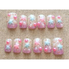 Fairy kei, sweet lolita, lolita accessory, pastel, 3D nail, Japanese... ($19) ❤ liked on Polyvore featuring accessories