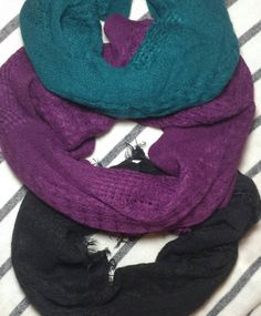 3 Scarf Bundle! Black + Purple + Teal || Baby Scarf - Toddler Scarf - Kid Scarf || Lightweight Loop Scarf for Child || Fall/Autumn