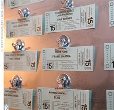 Another example of concert ticket escort cards!