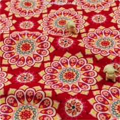 RESTOCKED | Christmas ♥ 50x47cm Firework Floral in Poppy Red Cotton Fat Quarter Fabric