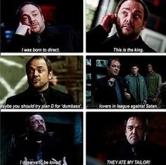 Crowley / Mark Sheppard has some of the best lines Supernatural Tv Show, Crowley Spn, Supernatural Quotes, Mark Sheppard, Winchester Boys, Super Natural, The Villain, Destiel, Baby Daddy