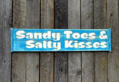 Sandy Toes & Salty Kisses  Carved Sign  Wall Art by AmericanaSigns, $45.00