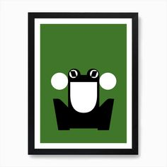 Abstract Frog Green Art Print by Print Now - Riot Later - Fy Green Art, Wooden Frames, Fine Art Prints, Chips, Things To Come, Vibrant, Wall Art, Abstract, Summary