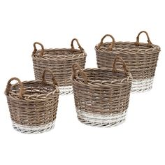 Evoke coastal cottages and rustic getaways with these 2-toned woven willow baskets, perfect for stowing spare throws in the den or towels in the guest room. ...