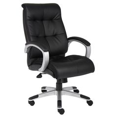 Bonded Leather, Black Leather, Leather Swivel Chair, Executive Chair, Executive Office, High Back Chairs, Boss Black, Upholstered Chairs, Chair Upholstery