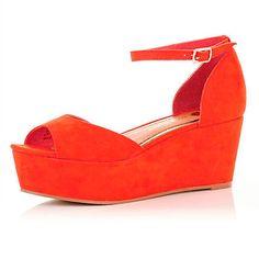 Bright Orange Wedge Sandals - River Island