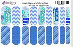 """It's a boy"" custom nail wraps.  Design your own in the Jamberry Nail Art Studio: http://www.kimd.jamberrynails.net/nas/"