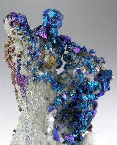 Chalcopyrite on Dolomite- Sweetwater Mine, Reynolds County, Missouri. 6cm tall Chalcopyrite is a copper iron sulfide mineral that crystallizes in the tetragonal system. It has the chemical formula CuFeS2. A major ore of copper, common in sulfide veins and disseminated in igneous rocks. Chalcopyrite oxidises to a variety of oxides, hydroxides and sulfates. Weathering may lead to the formation of malachite, azurite, brochantite, langite and numerous other secondary copper minerals.