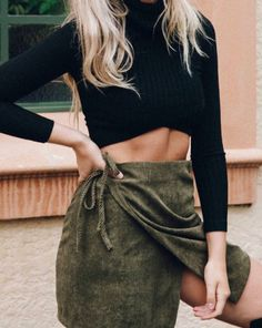 turtleneck crop top + corduroy wrap skirt
