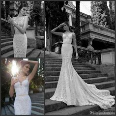 Wholesale 2014 Sexy Spaghetti straps Lace Pearls Sash Mermaid Sleeveless Court Train Wedding Gowns Bridal Dresses C260, Free shipping, $116.71/Piece | DHgate Mobile