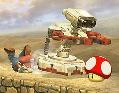 ROB and Mario - Robotic Operating Buddy and Mario - Mario - Robotic Operating Buddy - ROB - Famicom Robot - Super Smash Bros. Brawl - Super Smash Brothers Brawl - Super Smash Bros. games - Super Smash Brothers games - Red Mushroom - Nintendo characters