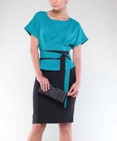 D60600 Three Quarters Sleeve Embroidery Black Peplum Dress | Products