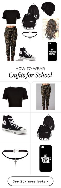 """Army look for school"" by madisa157 on Polyvore featuring Ted Baker, Yves Saint Laurent, Casetify, UGG Australia and Converse"
