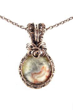 Mexican Crazy Lace Agate Round Cream Blue Antique Copper Pendant Necklace Wire Wrap Jewelry