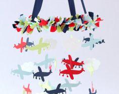 Airplane Cloud & Star Nursery Mobile in Navy by LovebugLullabies