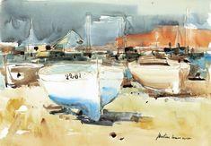 Museu de l'Aquarel·la - J. Martinez Lozano - Llançà Boat Painting, Ink Wash, Art Pictures, Art Pics, International Artist, Small Boats, Fishing Boats, Coastal, Watercolor