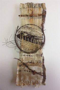 Contemporary Art , Weave and Photography Weaving Wall Hanging, Weaving Art, Loom Weaving, Tapestry Weaving, Twig Art, Tea Bag Art, Pottery Sculpture, Assemblages, Fibre Art