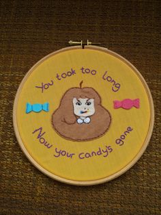 Bee and Puppycat 'Your Candy's Gone' quote hoop with Bee face Cross Stitching, Cross Stitch Embroidery, Cross Stitch Patterns, Bravest Warriors, Embroidery On Clothes, Geek Out, Nerdy, Needlework, Arts And Crafts