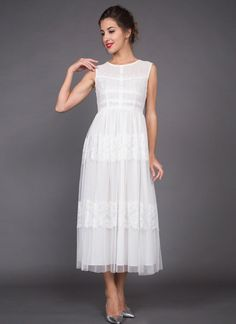 120ee55ae09a White Lace Tulle Midi Dress with Banded Top and Lace Trim Applique Skirt