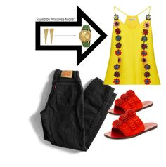 """OOTD 0018"" by vettinalyse on Polyvore featuring Levi's, Mary Katrantzou, Mercedes Castillo, Clara Jasmine and Movado"