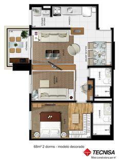 Studio Type Apartment, Studio Apartment Floor Plans, Small House Plans, House Floor Plans, Room Accessories, Lofts, Building Design, My Dream Home, Small Spaces