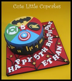Superhero themed birthday cake x